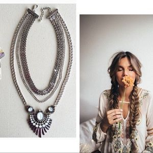 Silver Opal Statement Necklace